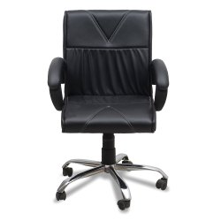 Leatherette Baxtonn Medium Back Office Adjustable Ergonomic Desk Chair, Black