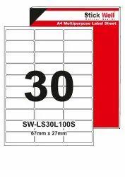A4 LABEL SHEET LS30L ( 67mm X 27mm ) STICKWELL
