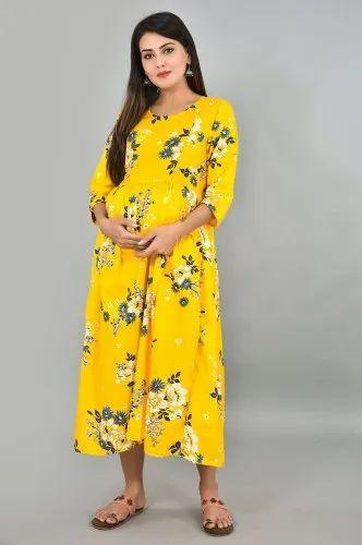 Jaipuri Bandhej Yellow Maternity Wear Maternity Dress Rs 350 Piece Id 13725044288