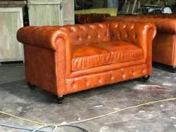 Vintage Rectangular TAN Chesterfield Leather Sofa, For Home, Size: Standard Two Seater
