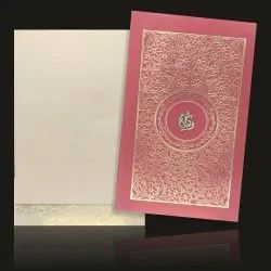 Wedding Card - KNK3486 Royal Red Shading With Gold Floral Theme Padded Card