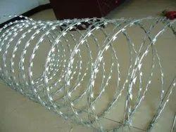 Silver Galvanized Iron Razor Wire, For Industrial