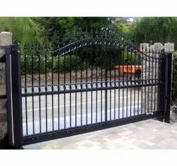 Black Powder Coated Mild Steel Automatic Sliding Gate, For Residential