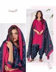 Suryajyoti Pink Suryjyoti Readymade Women Patiyala Cotton Dress Sui Dhaga Vol -8
