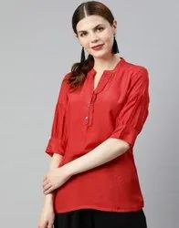 Women Red Solid Straight Viscose Top