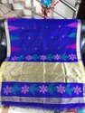 Festive Wear Blue Handloom Temple Work Sarees, With Blouse Piece