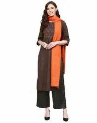 Jaipur Kurti Women Dark Grey & Orange Embroidered Straight Handloom Kurta With Palazzo & Dupatta