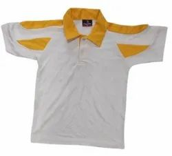 Half Sleeves White and Yellow Kids Cotton Collar Neck T Shirt, Size: 18-42