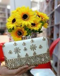 Golden Party Wear Fancy Clutch