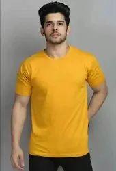 Plain Round Mens Yellow Cotton T Shirt