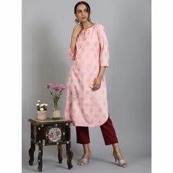 Janasya Women's Light Pink Rayon Kurta(JNE3569)