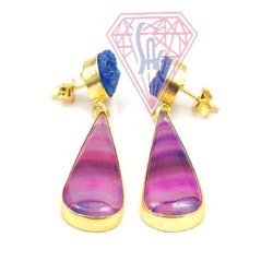 Pink Agate And Blue Druzy Gemstone Stud Earring with Gold Plated