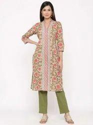 Jaipur Kurti Women Green Floral Motif Straight Cotton Kurta