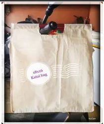White Plain Cotton Bamboo Stick Carry Bag, Bag Size: 18*16 Inches
