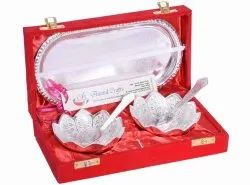 Anand Crafts Silver Plated Lotus Flower Shape Bowl Spoon Tray Set