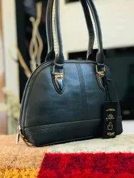 Fashionable PU Leather Ladies Plain Black Hand Bag