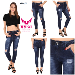 Cotton Denim Funky Mid Waist Skinny Fit Jeans For Women