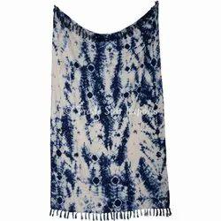 Indigo Hand Dyed Luxuries Shibori Cotton Bedding Throw Blanket Sofa Decor