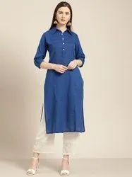 Jaipur Kurti Blue Pin Tucks Solid Straight Kurta
