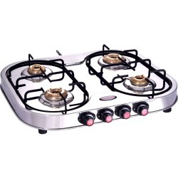 Four Burner Oval Stainless Steel LPG Stove, For Kitchen