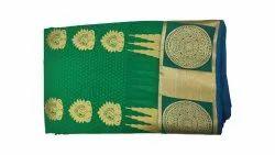 Handwoven Green Tana Emboss Soft Silk Saree, Handwash