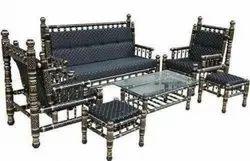 Modern Black Wooden 3 Seater Sofa Set(Sankheda), For Home, Living Room