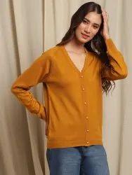 Janasya Women's Mustard Woolen Cardigan (J0290)