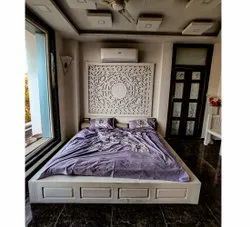 White Modern Designer Wooden Double Bed, For Hotel, Size: 6 X 6 Feet