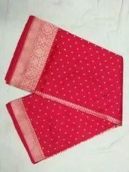 6.3 m (with blouse piece) Zardozi Work Ladies Red Designer Pure Silk Saree