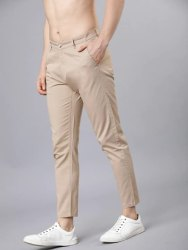 Cotton Flat Trousers Beige Men Casual Trouser