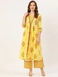 Jaipur Kurti Yellow Printed Flared Kurta With Palazzo