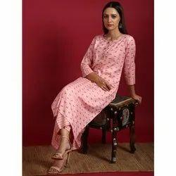 Janasya Women's Pink Rayon Slub Kurta With Palazzo (Set232)