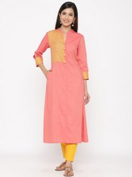 Jaipur Kurti Women Peach Geometric A-Line Blended Kurta With Pants
