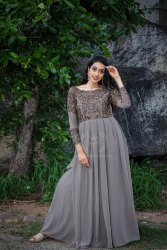 Party Wear Women Designer Evening Gown, Size: Free