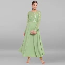 Janasya Women's Light Green Poly Crepe Kurta(JNE3463)