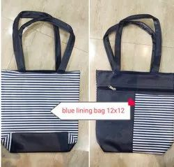 Blue, White Plain Ladies Polyester Bag, Size: 12*12 Inch