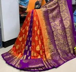 Multicolor Wedding wear Raw Silk Saree, Saree Length: 5.5 m (separate blouse piece), With Blouse