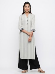 Jaipur Kurti Women Off white Woven Design Straight Blended Kurti