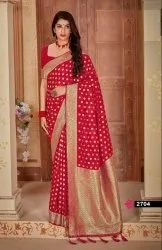 Gota Work Tussar Banarasi Pure Soft Silk With Embroidered Silk Blouse., 6.3 m (With Blouse Piece)