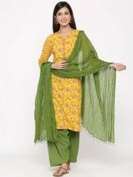 Jaipur Kurti Women Yellow Floral Straight Cotton Kurta With Salwar & Dupatta