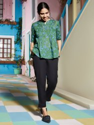 Janasya Women's Green Pure Cotton Top(J0176)