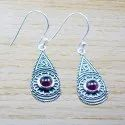 925 STERLING SILVER JEWELRY GARNET GEMSTONE DESIGNER EARRING WE-5476