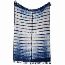 Decorative Handmade Shibori Sofa Throw Blanket Indigo Dyed