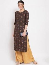 Women Printed Rayon Straight Kurta (Brown)