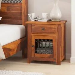 Furniture BoutiQ Tudor Rustic Solid Wood Iron Grill 1 Drawer Nightstand