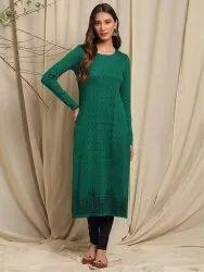 Janasya Women's Green Woolen Kurta(J0259)