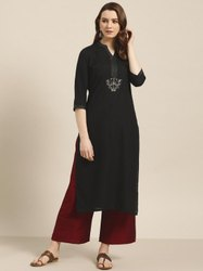 Jaipur Kurti Women Black Solid Straight Rayon Kurta
