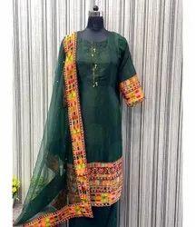 A-Line Stitched Ladies Fancy Green Suit, Handwash