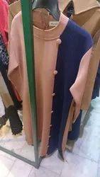 Peach & Blue Round Neck Woolen Long Kurti, Size: M,L