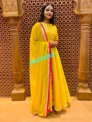 Stitched Yellow Anarkali Floor Length Suit, Handwash